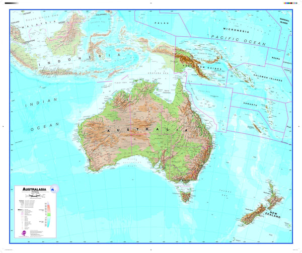Australasia Wall Map , Physical