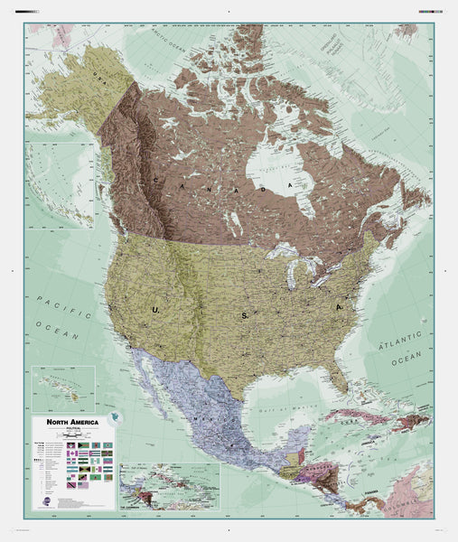 Executive North America , Political Wall Map