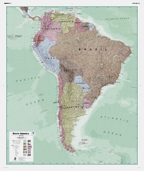 Executive South America , Political Wall Map