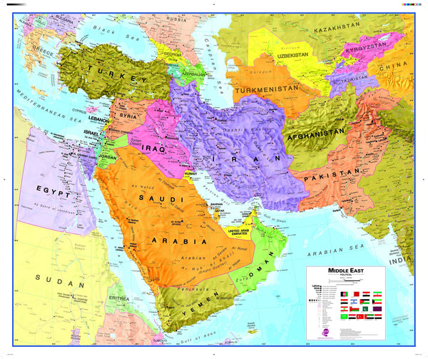 Middle East Wall Map , Political