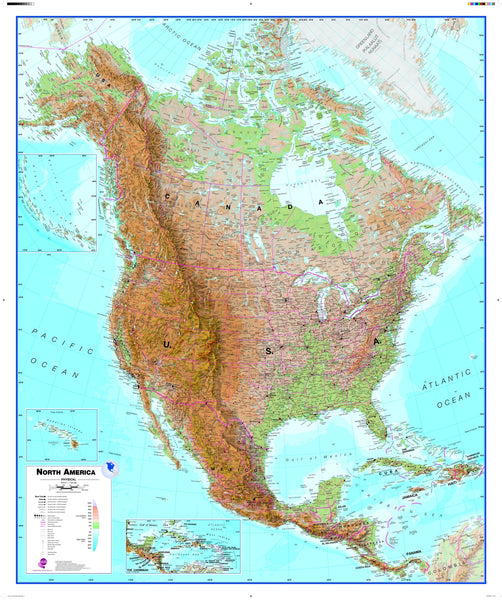 North America Wall Map , Physical
