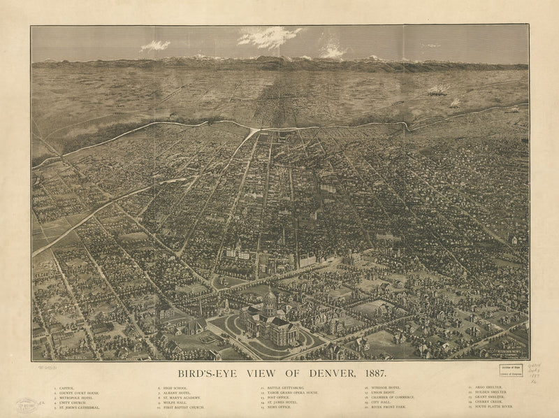 Denver Antique Wall Map
