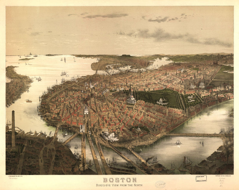 Boston Antique Wall Map