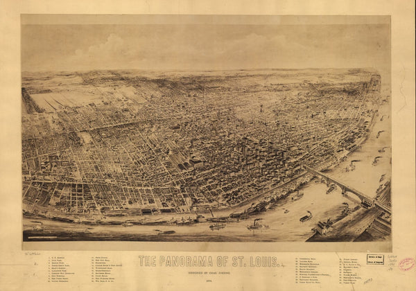 St. Louis Antique Wall Map