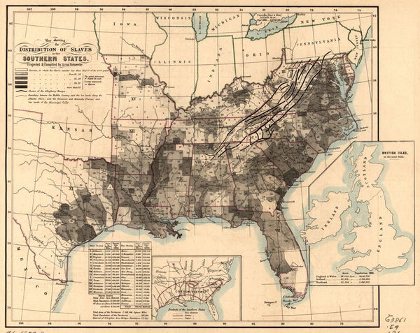 Map showing the distribution of slaves in the Southern States