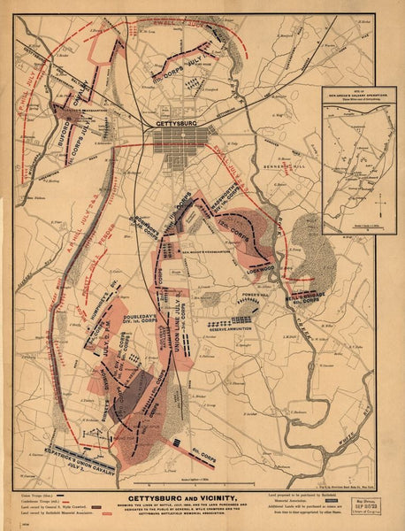 Gettysburg and vicinity, showing the lines of battle, July, 1863