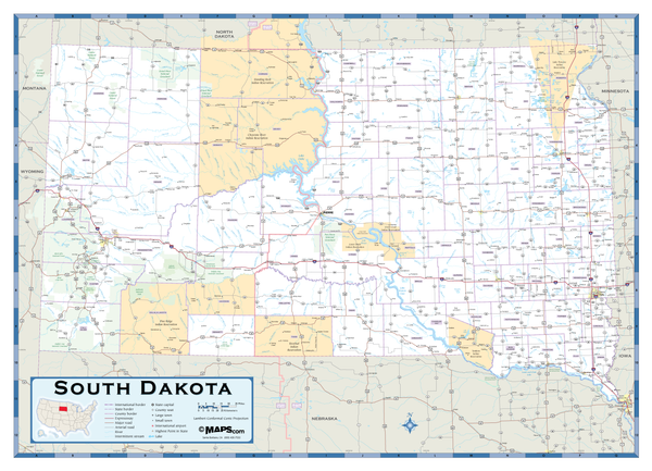South Dakota Highway Wall Map