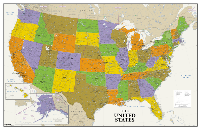 USA Political Wall Map - Contemporary Style