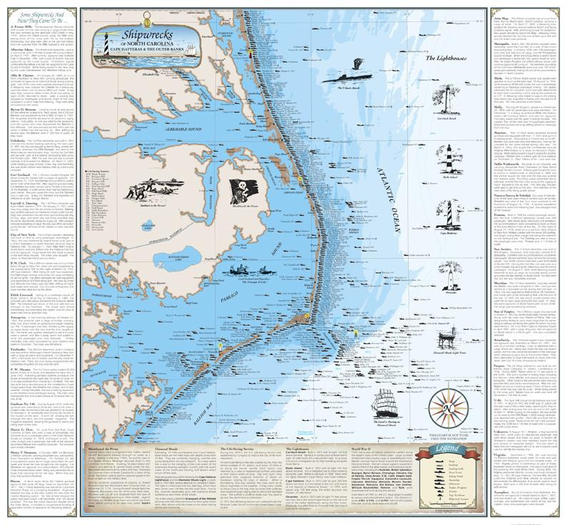 Cover of Shipwrecks of North Carolina Map : Cape Hatteras and the Outer Banks