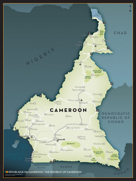 Cameroon Executive Style Wall Map