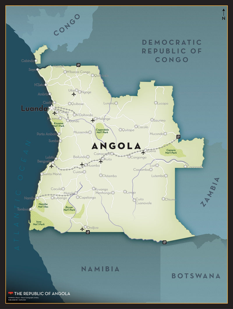 Angola Executive Style Wall Map