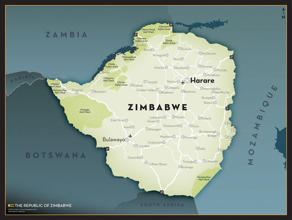 Zimbabwe Executive Wall Map