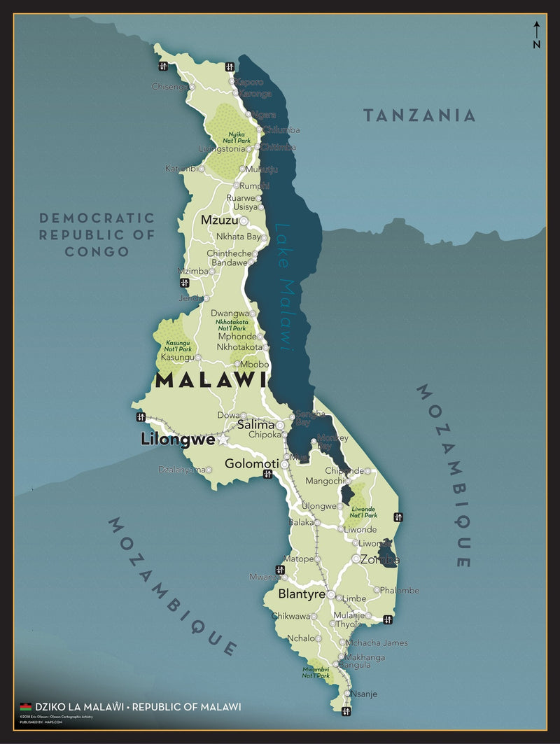 Malawi Executive Style Wall Map