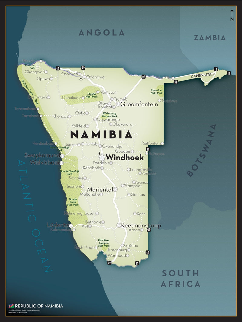 Namibia Executive Style Wall Map