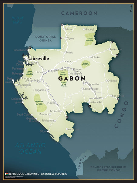 Gabon Executive Style Wall Map