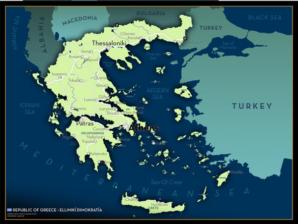 Greece Executive Style Wall Map