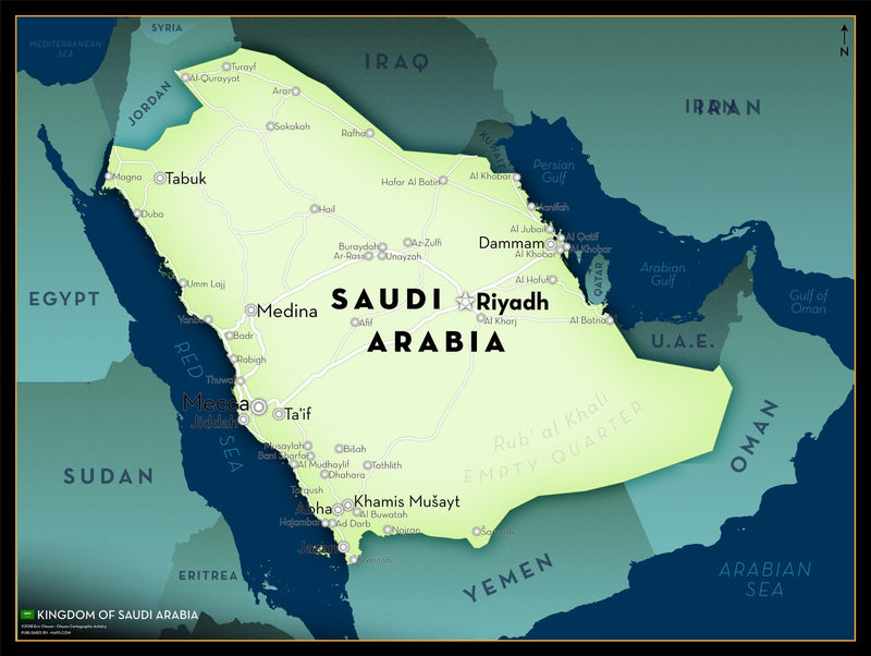 Saudi Arabia Executive Style Wall Map