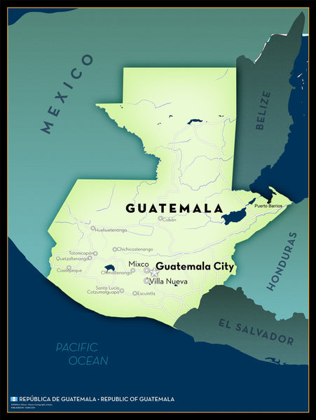 Guatemala Executive Style Wall Map