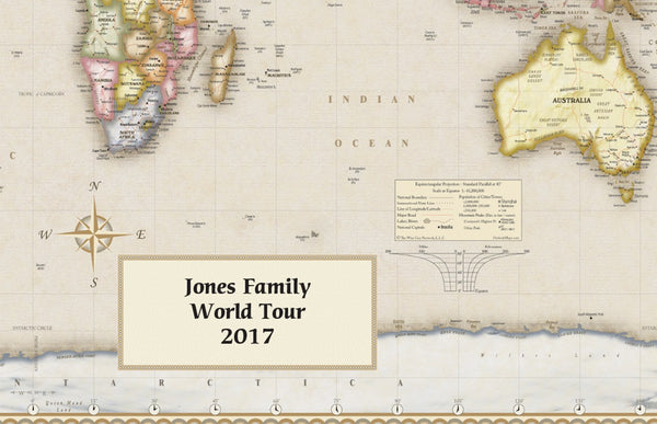 Personalized Antique Style World Wall Map