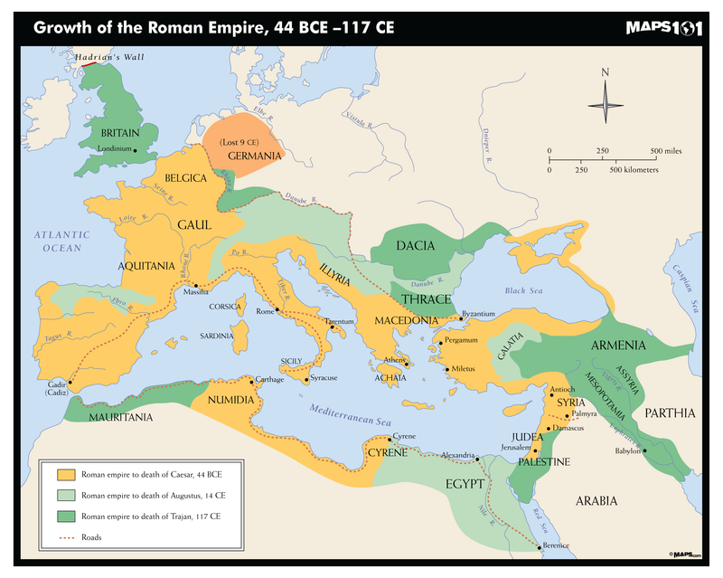Growth of The Roman Empire, 44 BCE-117 CE