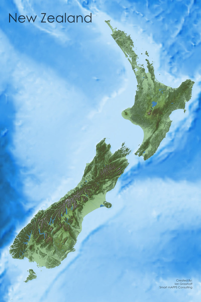 New Zealand's Diverse Terrain Wall Map