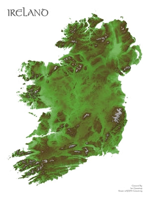 Ireland's Rugged Landscape in Emerald - Wall Map