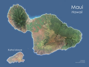 Maui, Hawaii Satellite Image Wall Map