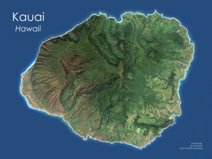 Kauai, Hawaii Satellite Image Wall Map