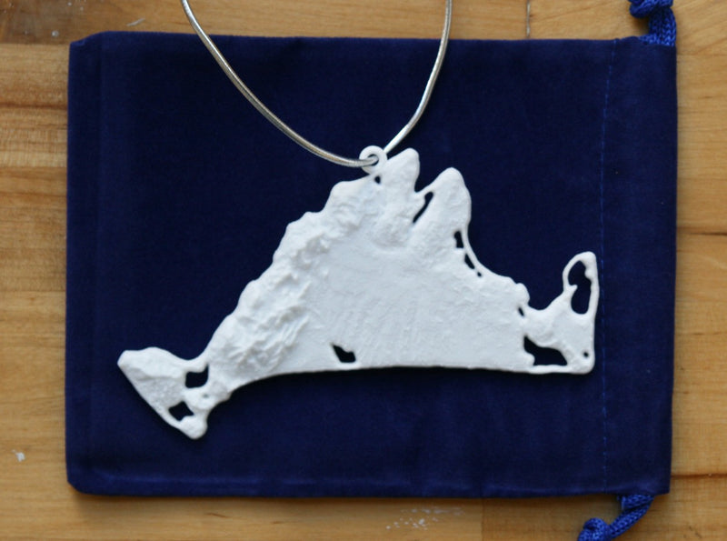 3-D Christmas Tree Ornament Of MA - Martha's Vineyard