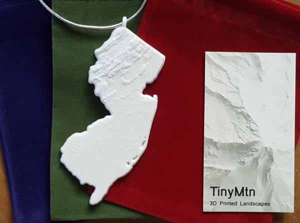 3-D Christmas Tree Ornament Of New Jersey