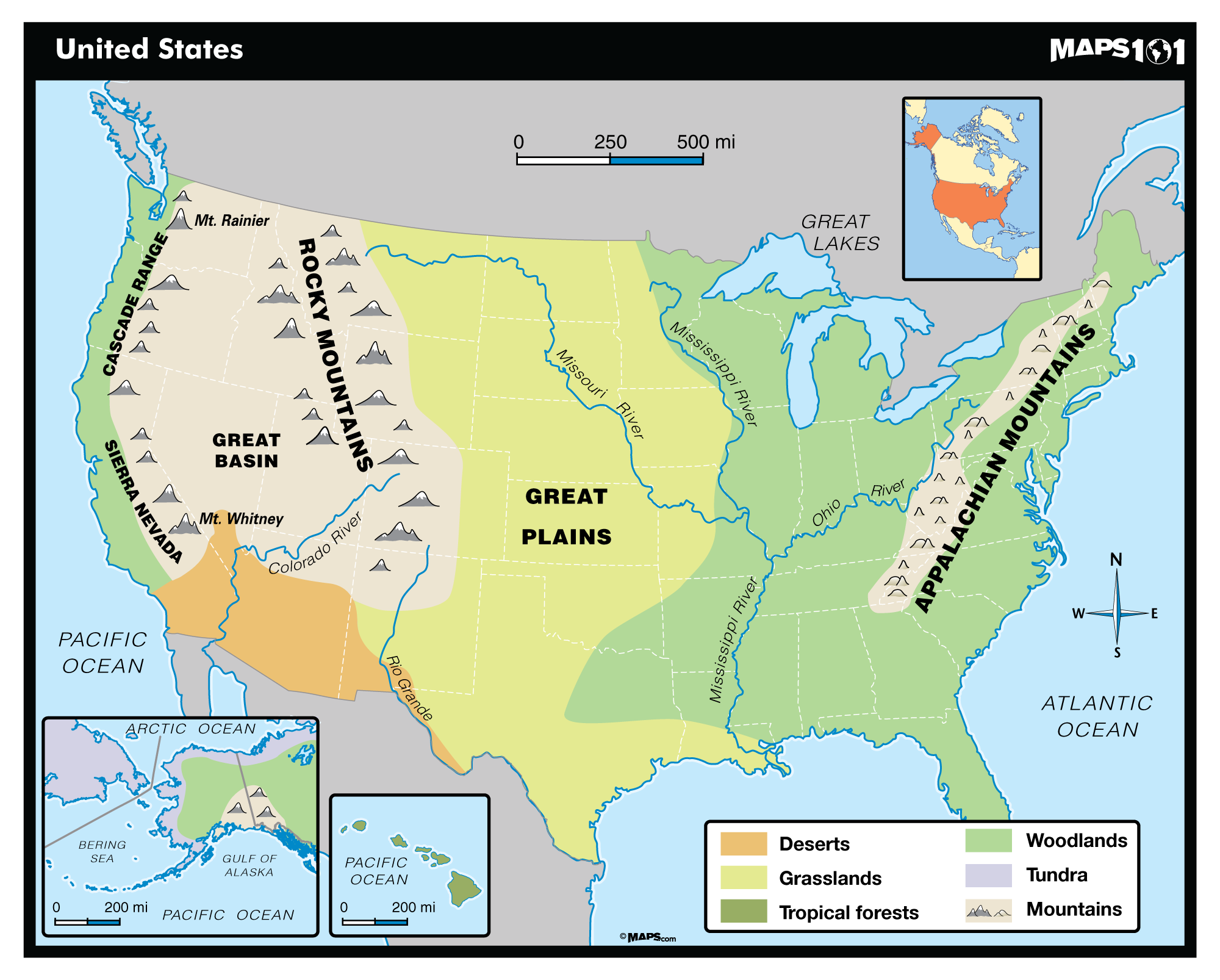 Image of: Primary Level United States Physical Map Maps Com Com