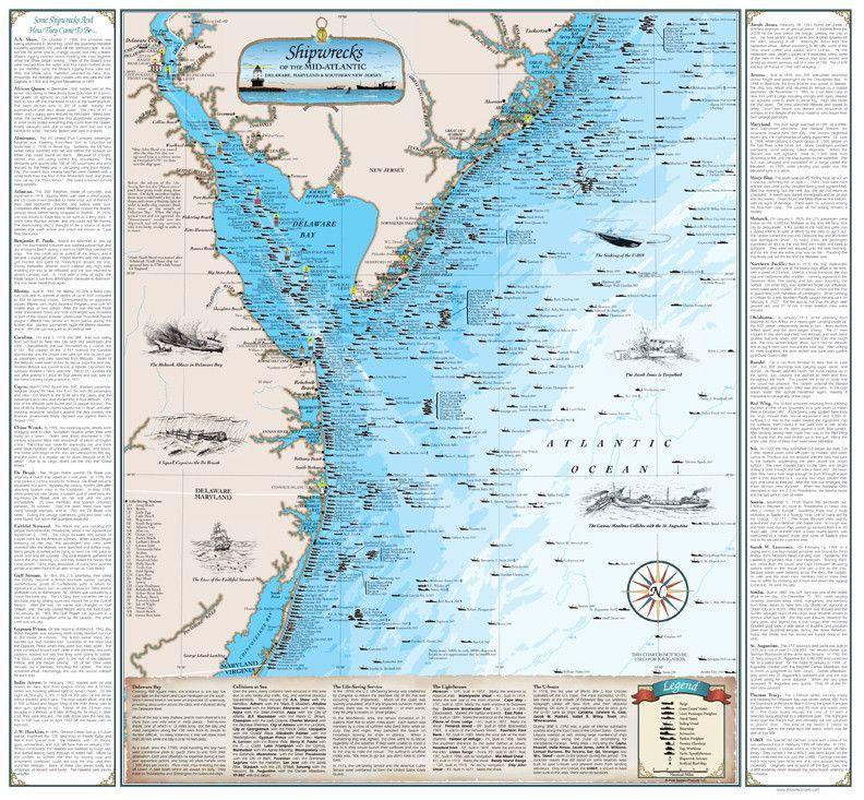 Cover of Shipwrecks of the Mid-Atlantic Map