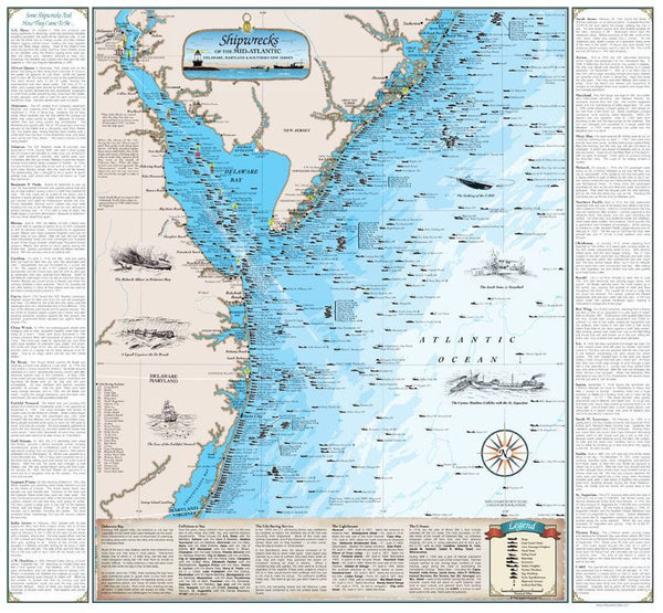 Cover of Shipwrecks of the Mid-Atlantic Map (Laminated)