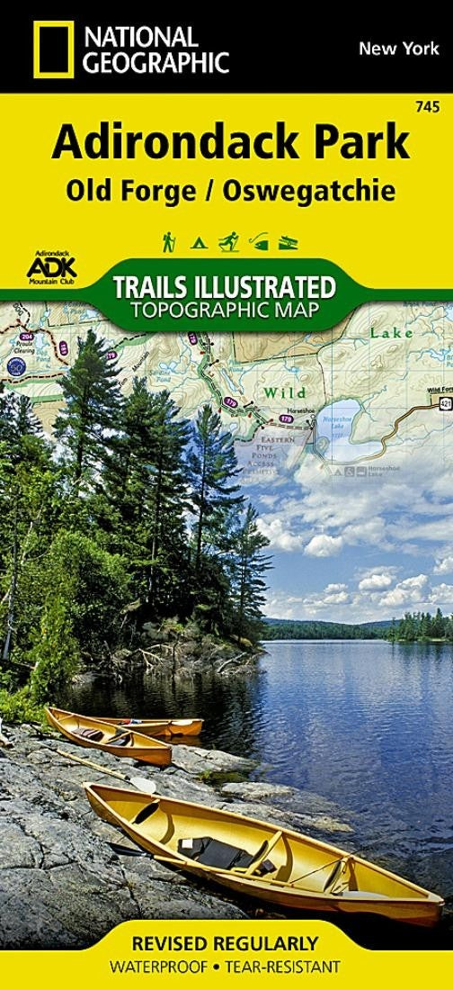 Adirondack Park, Old Forge and Oswegatchie, Map by National Geographic Maps