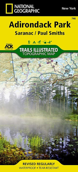 Adirondack Park, Paul Smiths and Saranac, Map by National Geographic Maps
