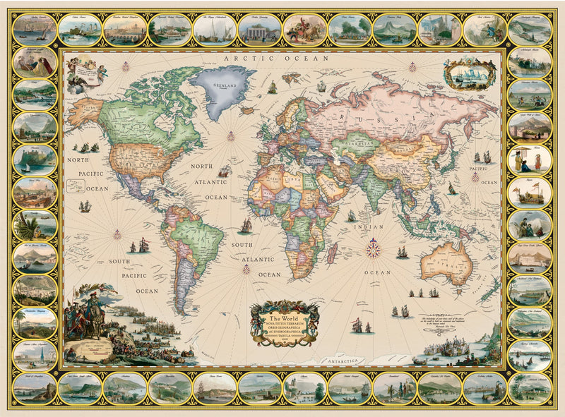Antique Style Illustrated World Map