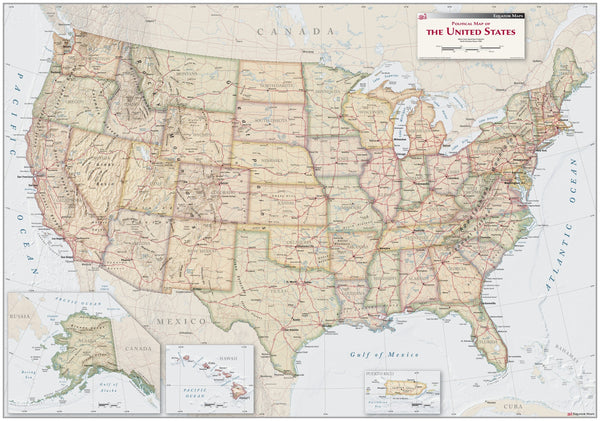 Antique Style USA Political Wall Map