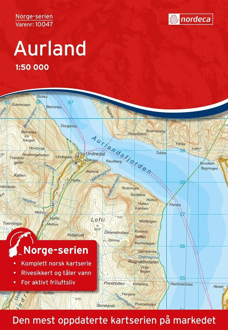 Cover of Aurland 1:50,000 Topographic Map by Nordeca