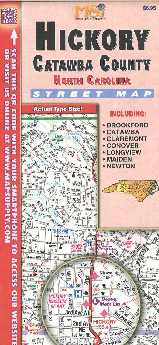 Cover of Hickory / Catawba County, North Carolina Road Map by Apple Valley Publishing