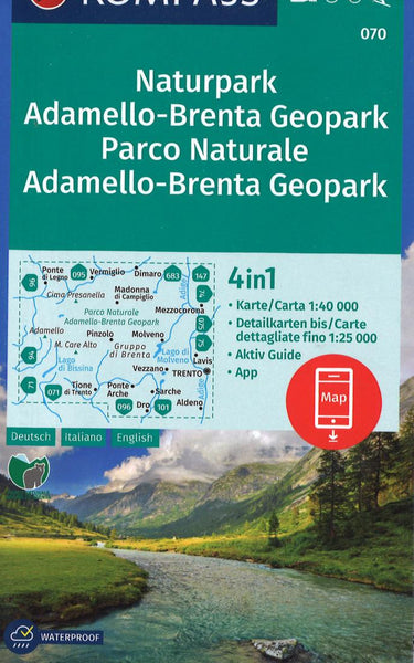 Cover of Naturpark Adamello-Brenta Geopark Hiking Map By Kompass