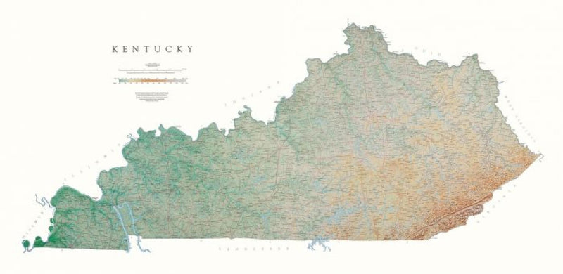 Cover of Kentucky Physical Laminated Wall Map by Raven Maps