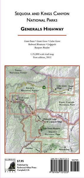 Cover of Sequoia and Kings Canyon National Parks, Generals Highway by Redwood Hikes Press
