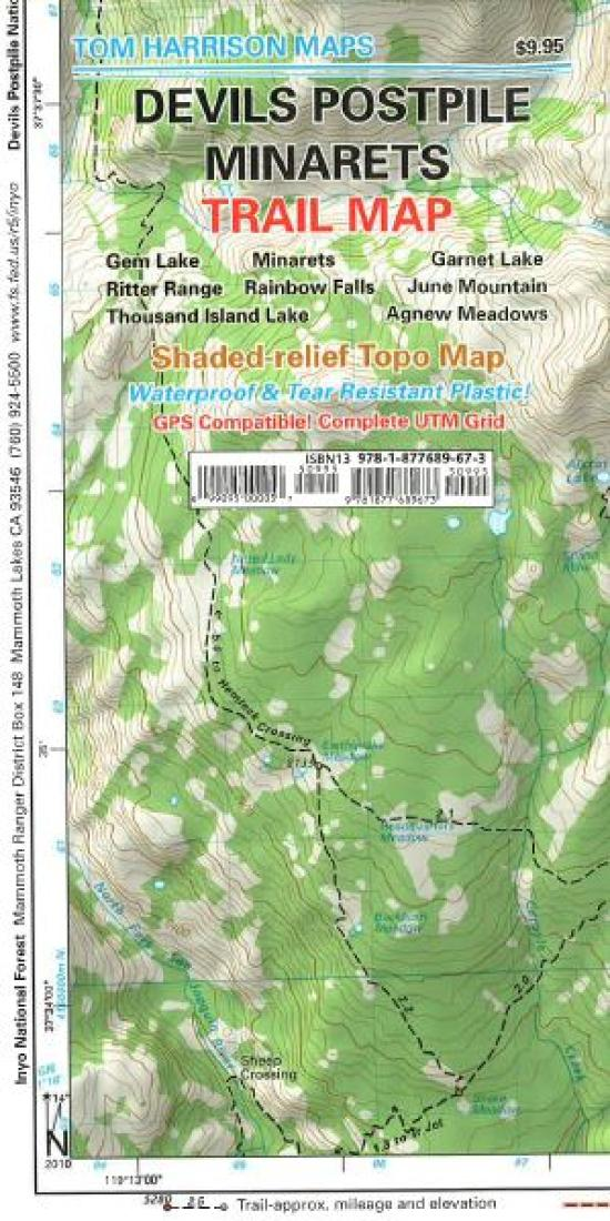 Cover of folded Map of Devil's Postpile, California by Tom Harrison Maps