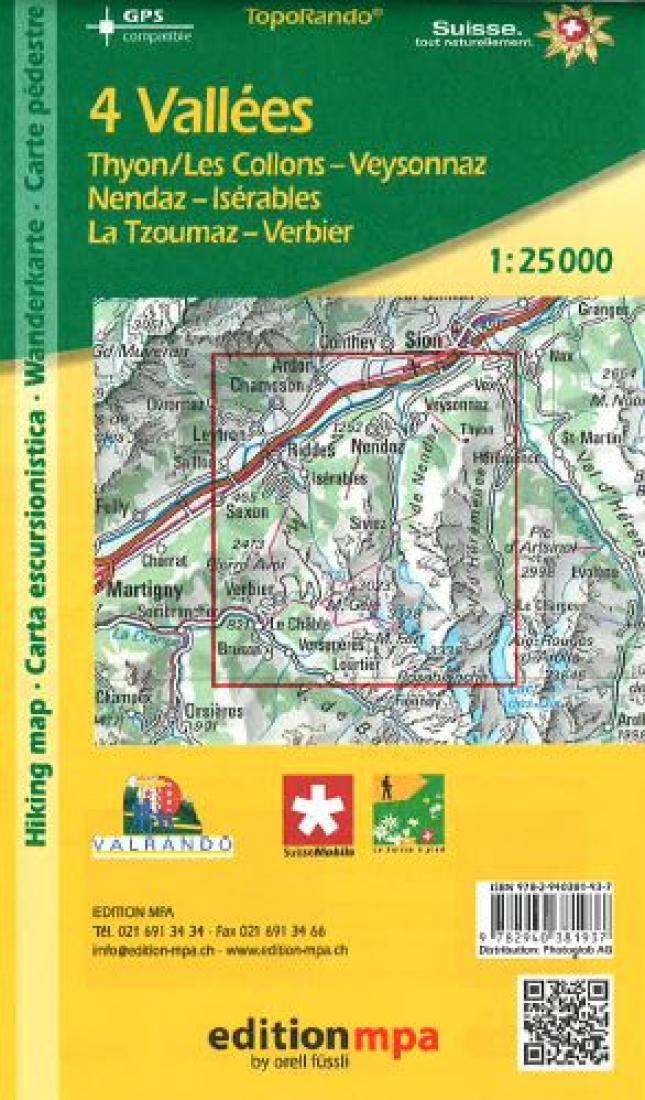 Cover of 4 Valleys, Switzerland, Topographical Map of Hiking Trails by Edition MPA by Orell Fussli