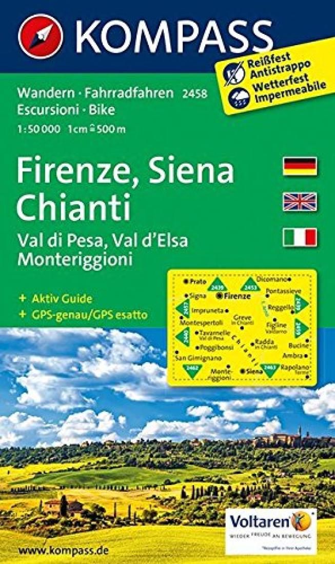 Cover of Firenze, Siena, Chianti Hiking Map By Kompass