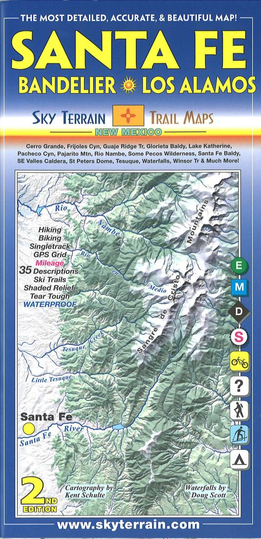 Cover of Santa Fe, Bandelier, and Los Alamos Hiking Map by Sky Terrain