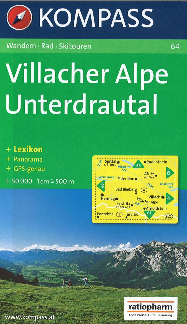 Cover of Villacher Alpe Unterdrautal Hiking Map By Kompass