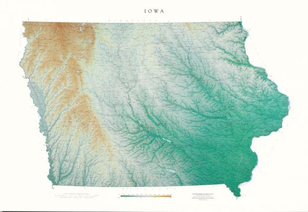 Cover of Iowa Physical Laminated Wall Map by Raven Maps