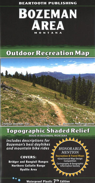 Cover of Bozeman Area, Montana Outdoor Recreation Map with Topographic Shaded Relief by Beartooth Publishing