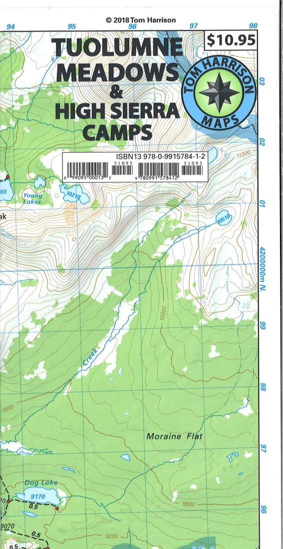 Cover of folded Map of Tuolumne Meadows and High Sierra Camp Loop by Tom Harrison Maps